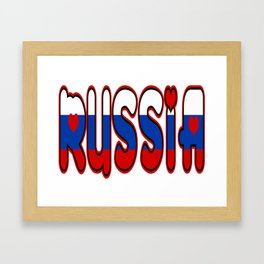 Russia Font with Russian Flag Framed Art Print