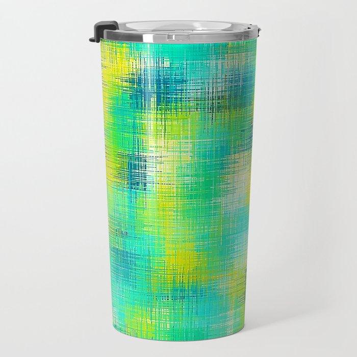 green blue and yellow plaid pattern Travel Mug