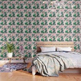 Llama and Cactus Pink Wallpaper