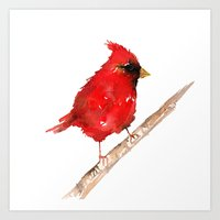 craftberrybush Art Prints featuring Red cardinal  by craftberrybush