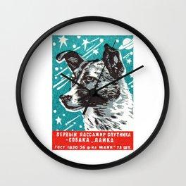 1950s Laika Space Dog Russian Matchbox Label Wall Clock