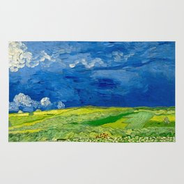 Vincent van Gogh Wheatfield Under Thunderclouds Oil Painting Rug