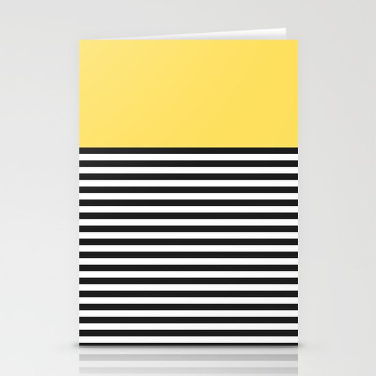 STRIPE COLORBLOCK {LEMON} Stationery Cards