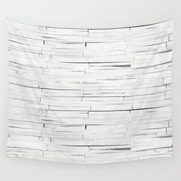 White Wooden Planks Wall Wall Tapestry