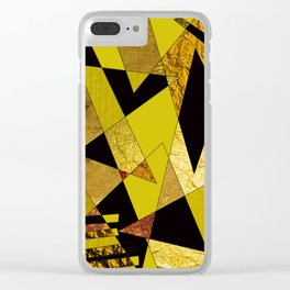 Black, Gold & Copper Shards Clear iPhone Case
