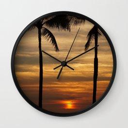 Watching The Setting Sun Wall Clock