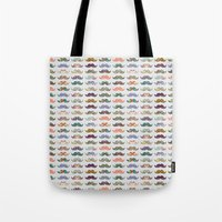pun Tote Bags featuring Mustache Mania by Bianca Green