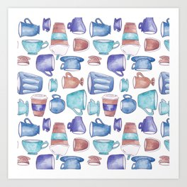 Watercolor Coffee Cups. Art Print
