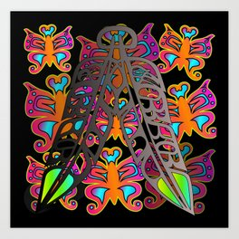 Eagle & Raven Feathers with Butterflies Art Print