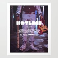 hotline miami Art Prints featuring Hotline Miami: The Movie by dcruze
