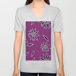 Dark Purple Falling Flora Pattern 2 Unisex V-Neck