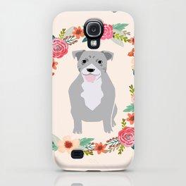 Pitbull grey dog wreath florals pet portrait pibble mom iPhone Case
