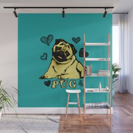 Adorable Puppy Pug on teal with hearts Wall Mural