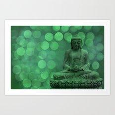 buddha light green II Art Print