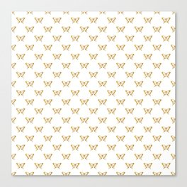 Metallic Gold Foil Butterflies on White Canvas Print