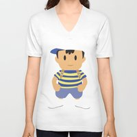 earthbound V-neck T-shirts featuring Ness - Earthbound - Super Smash Brothers - Minimalist by Adrian Mentus