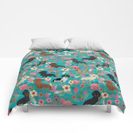 Dachshund dog breed floral pure breed weener dogs doxie dachsie must have Comforters