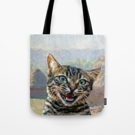 """Bengal Cat Interrupting """"Haystacks at the End of Summer, Morning Effect"""" by Claude Monet Tote Bag"""