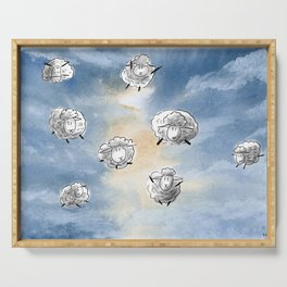 Digital Sheep in a Watercolor Sky Serving Tray