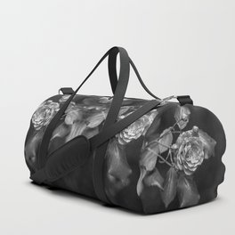Mirroring black and white roses monochrome flowers Duffle Bag