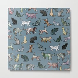 Cats Shapes Marble - Teal Steel Blue Metal Print