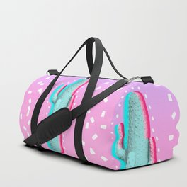 Modern 3d pink blue color channel cactus photography pink purple gradient 90's Duffle Bag