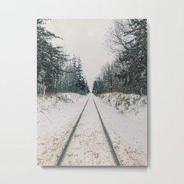 Train tracks in the winter Metal Print