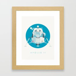 Apollo 11 Lunar Lander Module - Text Cyan Framed Art Print