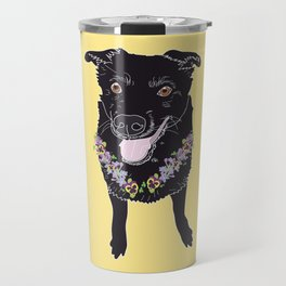 Happy Black Lab Dog Travel Mug