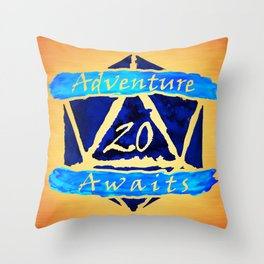 D20 Adventure Awaits Watercolor Cleric's Trail Throw Pillow