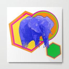 Bright Geometric Elephant Print Metal Print