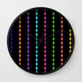 Geometric Droplets Pattern - Rainbow Colors Wall Clock