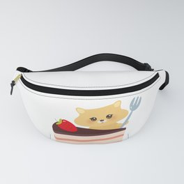 cute kawaii hamster with fork, Sweet cake decorated with fresh Strawberry, pink cream and chocolate Fanny Pack