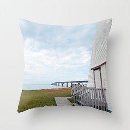 Bridge and Lighthouse Throw Pillow
