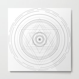 Black and white sacred geometry circle Metal Print