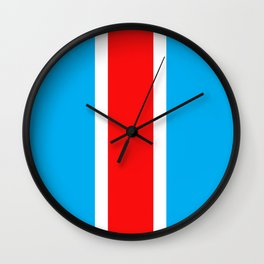 TEAM COLORS 10...RED , WHITE LIGHT BLUE Wall Clock
