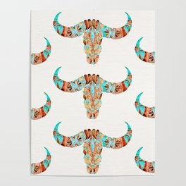 Water Buffalo Skull – Blue & Brown Poster