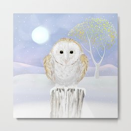 Snowy the Barn Owl Metal Print