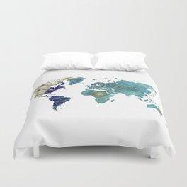 World Map Wind Rose Duvet Cover