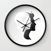 sterek Wall Clocks featuring Sterek in Profile by Kjerstin A