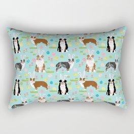 Australian Shepherd easter eggs spring dog breeds cute dog pattern aussie pet portraits Rectangular Pillow