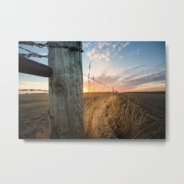 Late December - Western Scene of Fence Post and Sunset Metal Print