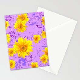 LILAC PURPLE ABSTRACT YELLOW FLOWERS ART Stationery Cards