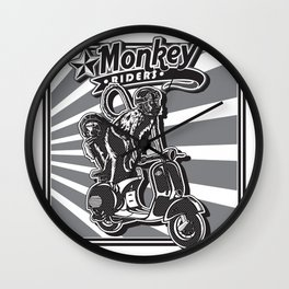 Monkey Riders Wall Clock