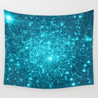 turquoise Wall Tapestries featuring Turquoise Teal Sparkle Stars by WhimsyRomance&Fun
