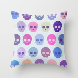 Colorful Skull Cute Pattern III Throw Pillow