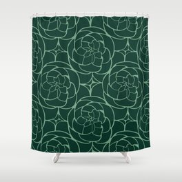 Succulents in Green Shower Curtain