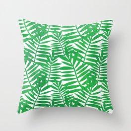 Tropical Leaf Print Throw Pillow