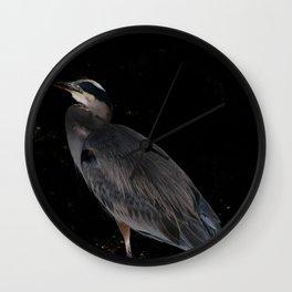 Heron at night Wall Clock