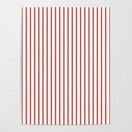 Nasturtium Orange Pinstripe on White Poster